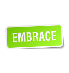 Embrace square sticker on white vector