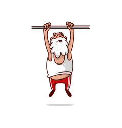 Fat santa claus hanging on crossbar and trying to vector