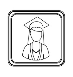 Figure emblem woman graduation icon vector