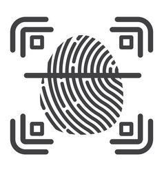 fingerprint scanner line icon id and security vector image