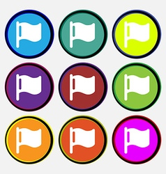 Flag icon sign Nine multi-colored round buttons vector