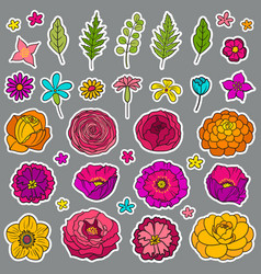 Floral hand drawn stickers vector
