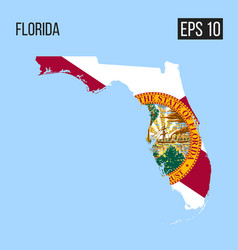 Florida map border with flag eps10 vector