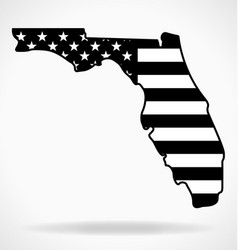 florida state map shape with usa flag black white vector image