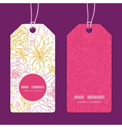 flowers outlined vertical round frame pattern tags vector image
