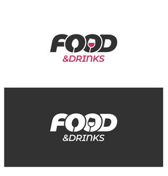food and drinks logo with spoon winre glass on vector image