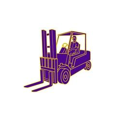 Forklift Truck Mono Line vector