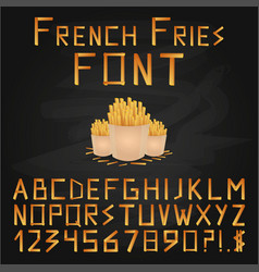 french fries font fast food font english vector image