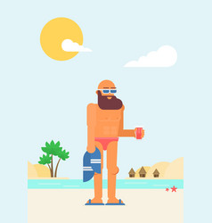 funny cartoon character on vacation flat vector image