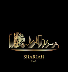 gold silhouette of sharjah on black background vector image