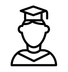 Graduate line icon person in graduate hat vector