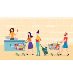 grocery supermarket checkout line - cartoon people vector image
