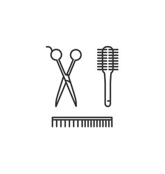 hairdresser tools - scissors comb brush vector image