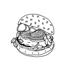 hand drawn of hamburger vector image