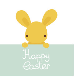 happy easter cute kawaii bunny rabbit character vector image
