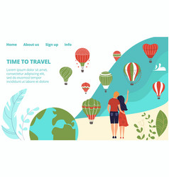 hot tour travel on vacation tourism with hot air vector image