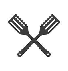 Icon two Kitchen shovels scapulas or Fry shovels vector