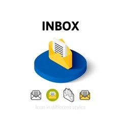 Inbox icon in different style vector image