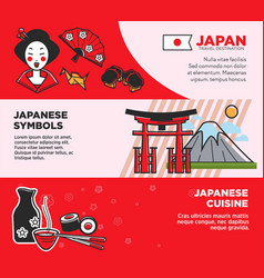 japan travel famous landmarks and japanese culture vector image