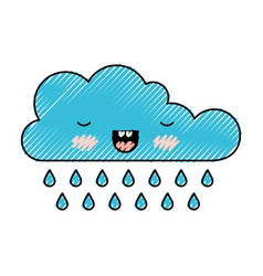 kawaii cloud with rain in colored crayon vector image