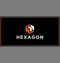 kh hexagon logo design inspiration vector image