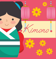 kokeshi japanese national doll in a kimono flowers vector image