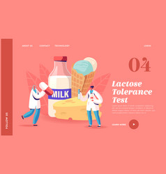 lactose intolerance landing page template tiny vector image