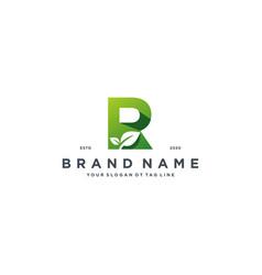 Leaf letter r logo design vector