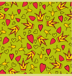 little princess green seamless pattern vector image