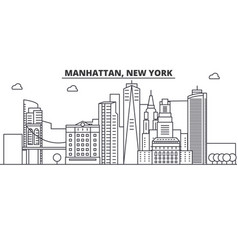Manhattan new york architecture line skyline vector