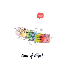 map of nepal watercolor vector image