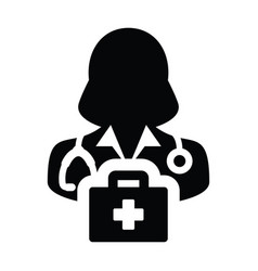 Medical icon female doctor person profile avatar vector