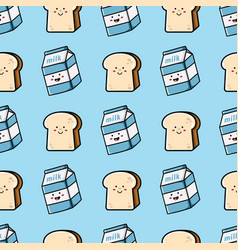 milk and bread seamless pattern vector image
