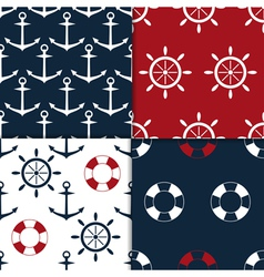 nautical seamless set vector image