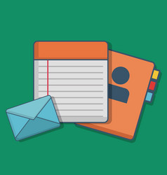 Notebook and envelope icon vector