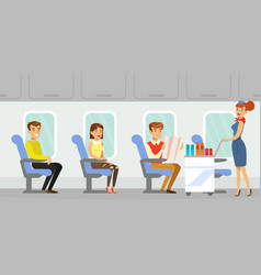 people traveling aircraft flight attendant in vector image