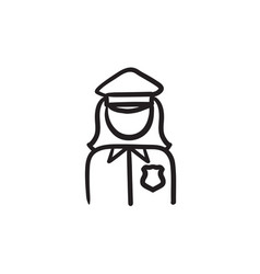 Policewoman sketch icon vector