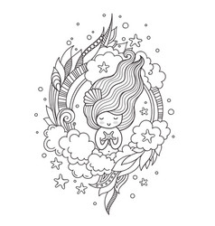 portrait of mermaid with starfish cute little vector image