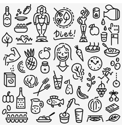 raw food diet - set icons vector image