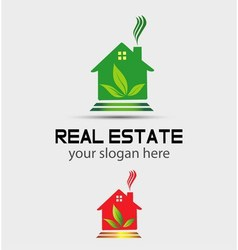 Real estate house with tree logo vector
