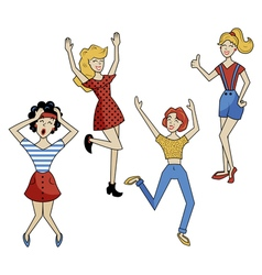retro girls vector image