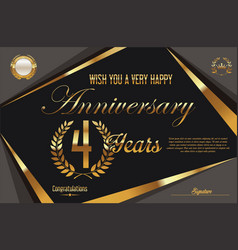 Retro vintage anniversary background 4 years vector