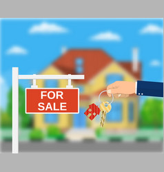 Sale placard sign hand of agent with keys vector