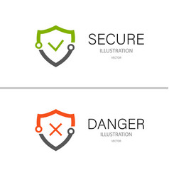 secure lock and danger isolated on a white vector image