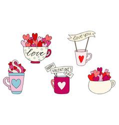 set hand drawn a mug vector image