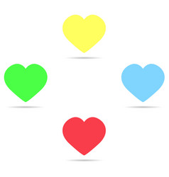 set of colored icons yellow hearts blue red and vector image