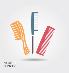 Set of different combs flat icon with shadow vector