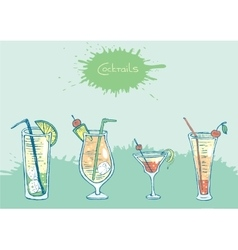 Set of isolated colorful sketch cocktails and vector image