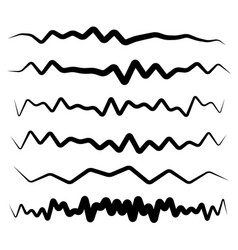 Set of wavy zigzag horizontal lines dividers vector
