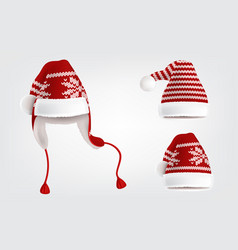 Set three knitted santa hats with pattern vector